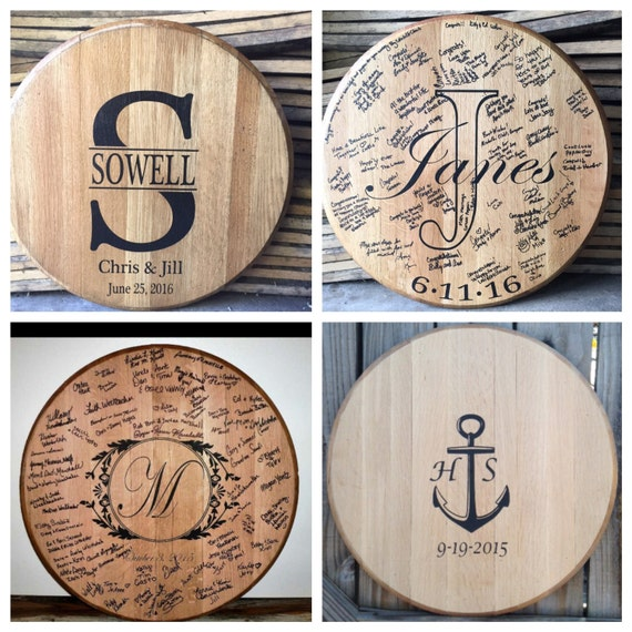 Bourbon Whiskey Barrel Head Wedding Guest Book Etsy