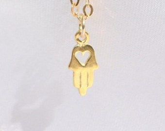 Teeny Tiny Charm Necklaces Gold Filled, Sterling Silver Minimal Jewelry Layering Jewelry Cute hamsa heart Necklace