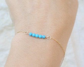 Turquoise Bracelet Dainty Bracelet Gift for Her Delicate Turquoise Bracelet Gold Filled Sterling Silver Rose Gold
