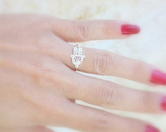 Hamsa  - 925 Sterling silver fitted hamsa ring