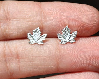 Sterling Silver Leaf Stud Earrings 925 Tiny Maple Studs