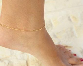 Dainty anklet - Beaded Anklet, ankle bracelet,Satellite,Simple Delicate Anklet,gold ankle bracelet,delicate anklet