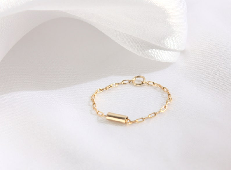 Thin and feminine everyday 14K Gold Filled Stackable Layering Tiny Soft Chain Ring Minimalist Thin Dainty Rings Minimum Jewelry