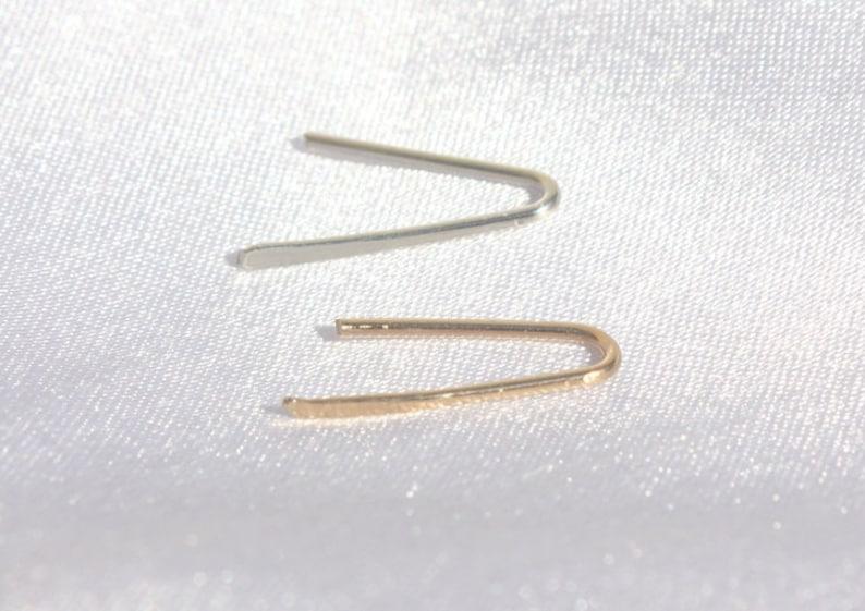 Minimal Ear Climber Line Earrings Bar in gold silver rose image 0