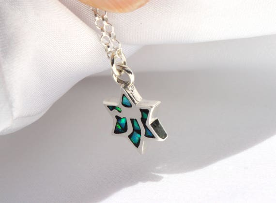 Magen David Star David Israel Opal Blue Pendant Necklace with Silver 925 Chain