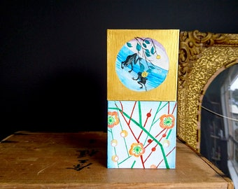 Painted Wooden Box x 1, Home Decor - Small Original Painting on Wood, Japanese Fabric Design, Apricot Blossoms, Two Frogs