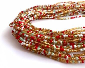 Orange Green /& Gold African Handmade Waist Bead *per one strand* Light Pink