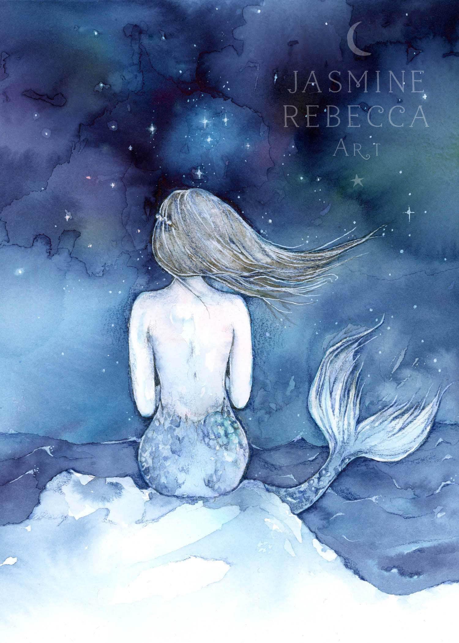 MOUNTED PRINT 8 X 10 Night Swimming Mermaid Watercolor Decor