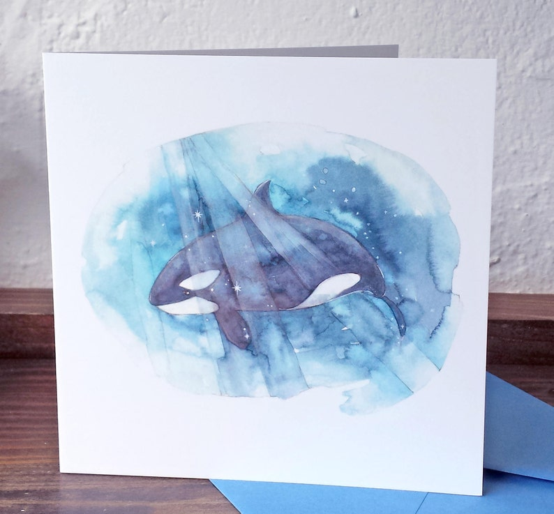 CARD Orca Whale Quote - Be Free - frame-able square art card - killer whale