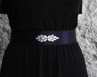 Navy belt, wide belt, embellished belt, blue waist belt, woman belt, bridesmaid embellished belt, belts for dresses, elastic waist belt
