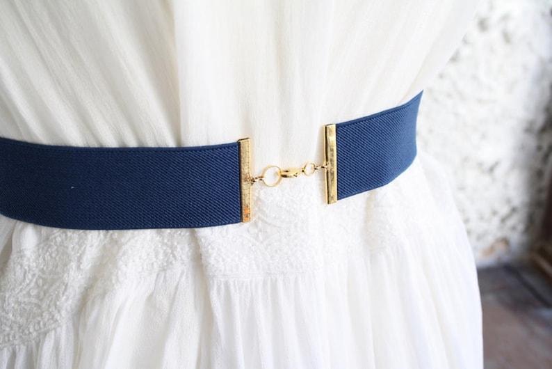Blue wedding belt Dress belt Stretch belt blue and white belt Blue dress belt Elastic belt Woman waist belt Wide waist belt