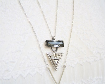 Long Silver pendant necklace, Silver Boho necklace, Triangle necklace, Swarovski crystal pendant necklace, fashion geometric necklace