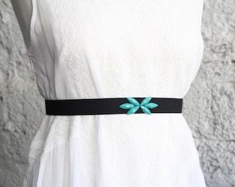 Turquoise flower belt, bridesmaid Blue belt, bridesmaid belt, Black waist belt, plus size belt,  elastic waist belt, flower dress belt