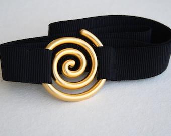 SALE, Gold and black waist belt, elastic belt, maternity belt, gold swirl buckle, black elastic belt, spiral gold buckle