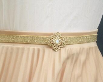 Gold belt, Belt for dress, Gold waist belt, Gold vintage belt, Gold buckle, Elastic waist belt, woman gold belt, dress belt accessory