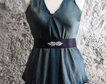Navy blue elastic belt for woman