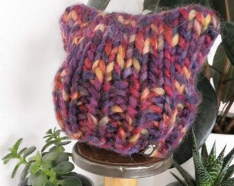 Newborn Chunky Children's Kitten Toque - Wool Winter Hat - Hand Knit by Seedling Yarn