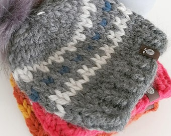 Newborn Chunky Knitted Toque with Pom Pom - Winter Wool Hat - Hand Knit by Seedling Yarn