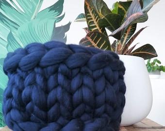 Navy Blue Extra Chunky Hand Knit Basket - Unspun Merino Wool - Stylish Storage - Boho Chic - Modern