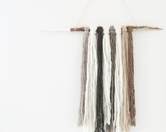 Free Shipping - Neutral Wall Hanging - Fibre Art - Hand Made - Natural Fibres - One of a Kind