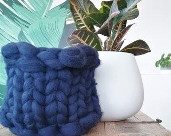 Small Size - Navy Blue Extra Chunky Hand Knit Basket - Unspun Merino Wool - Stylish Storage - Boho Chic - Modern