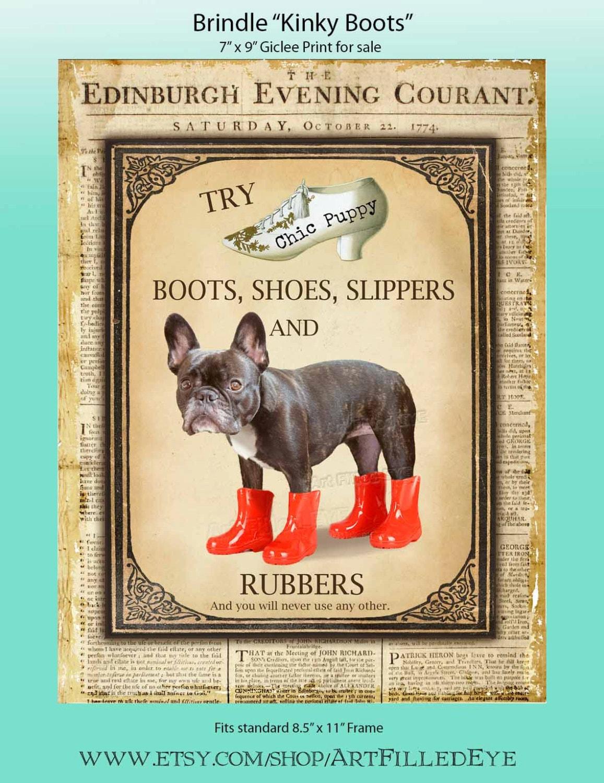 ce33b44a59c Shoe Advertisement Giclee Print of Cute Black Brindle Brown