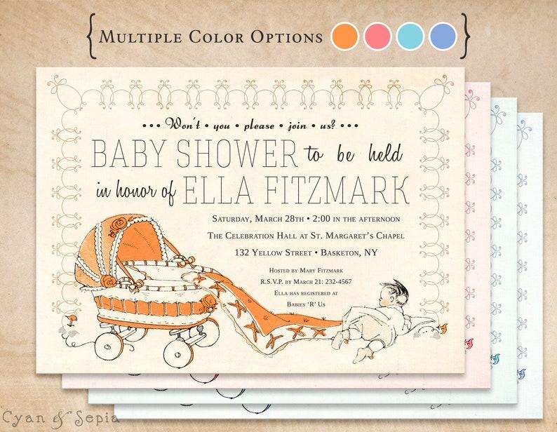 Vintage Carriage Printable Baby Shower Invitation 5x7 Orange Pink Blue Antique Storybook Retro Midcentury 1950s 1960s Gender Neutral