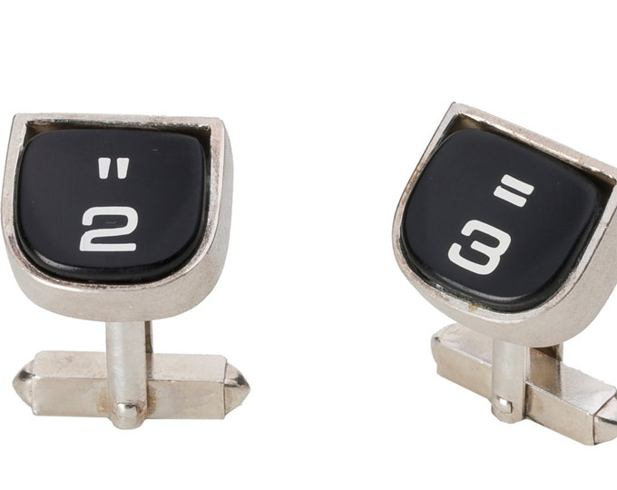 Cufflinks, 925/000 silver, black, original typewriter keyboards, matted, mechanics solid riveted.