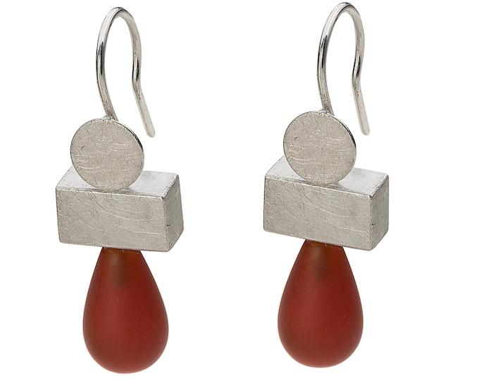 Pendant, 925/000 silver, rhodium, carnelian, orange, matted surfaces.