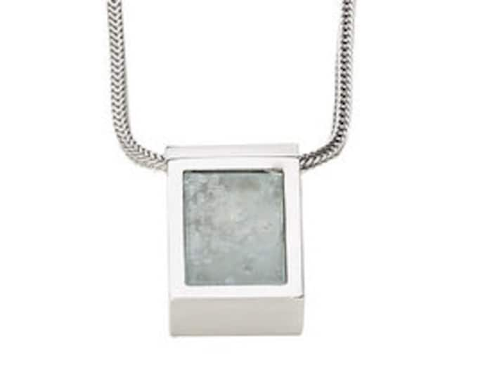 Men's Necklace, 925/000 silver, aquamarine, light blue.