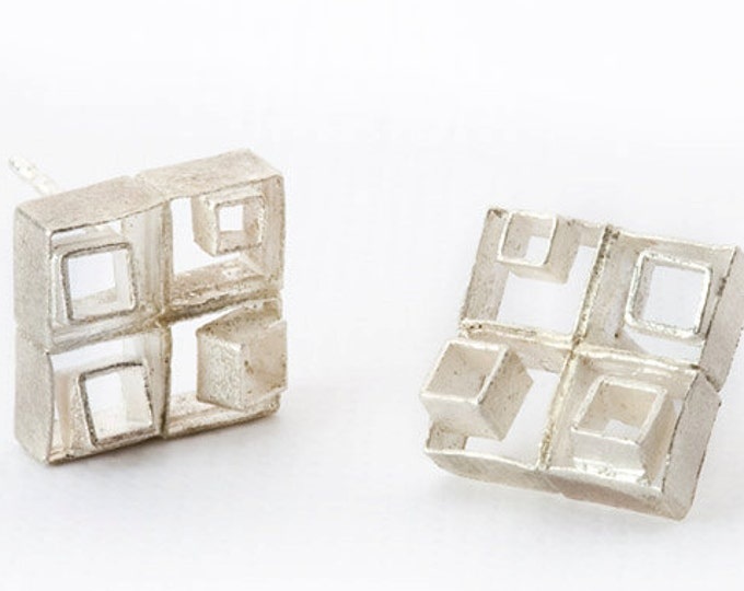"Earrings ""Relief"", 925/000 silver, rhodium, surface matted."