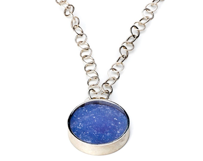 Necklace, 925/000 silver, Chalcedon with crystals, blue.