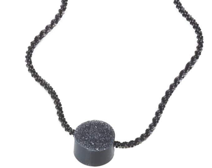 Necklace, 925 silver, black Rutheniert, crystal-occupied onyx, black.
