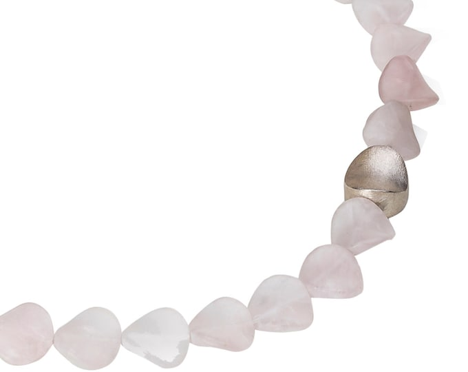 Chain, 925/000 silver, Rose Quartz, matt surface.