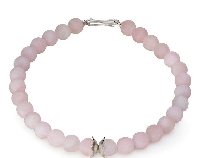 Necklace, 925/000 silver, Rose Quartz, satin, pastel, pink.