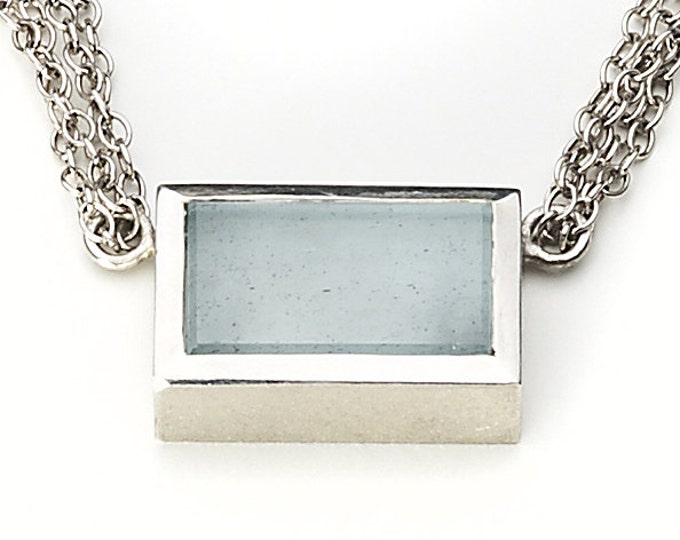 Chain, 925/000 silver, aquamarine, light blue.