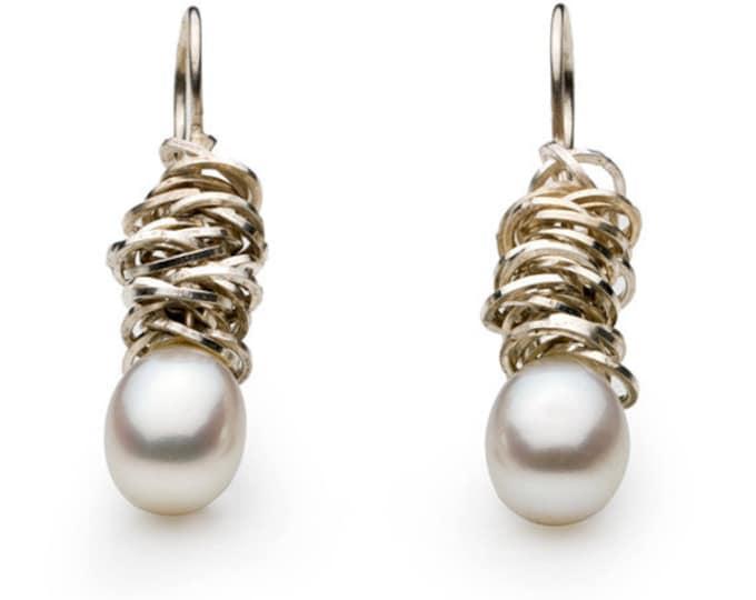 """Ear Jewellery """"cluster"""", 925/000 silver, freshwater zuchtperlen, pearl, drip-shaped."""