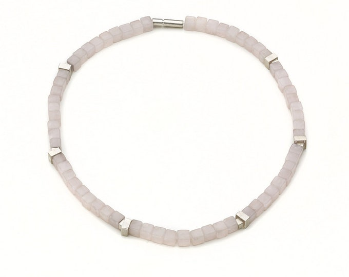 Chain, 925/000 silver, rose quartz, pink, matte.