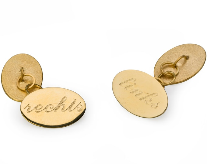 Cufflinks, 925/000 Silver, 18 kt gold plated, polished.