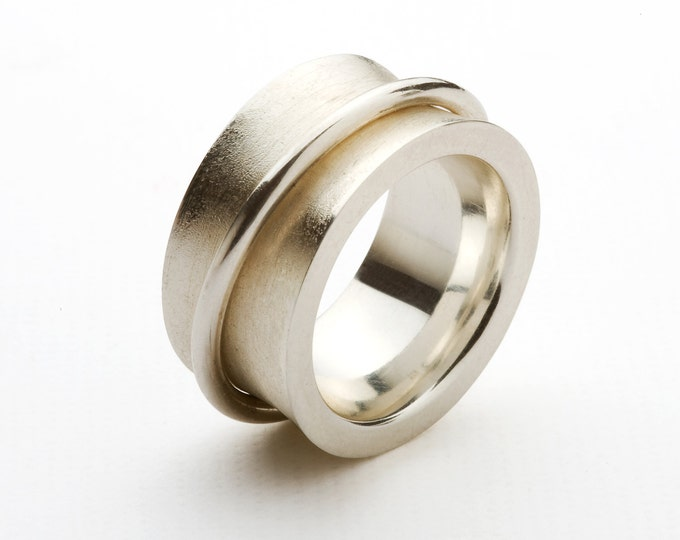 Ring, Men's ring, 925/000 silver, polished and matted