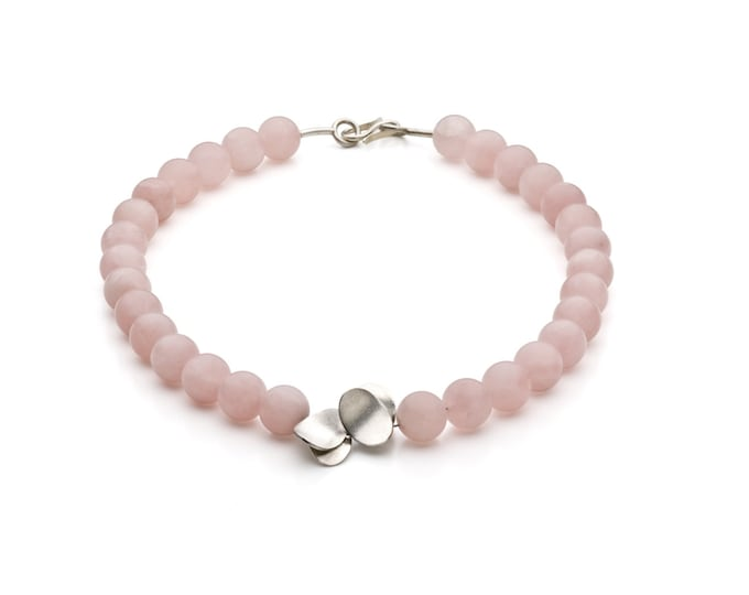 Necklace, 925/000 silver, Rose quartz, pink, Matt.