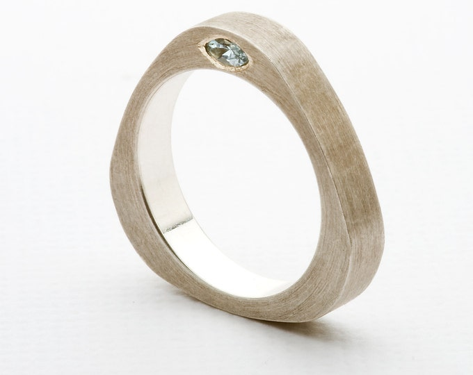 "Ring ""triangle"", Men's Ring, 925/000 Silver, Aqua Marine, Tender blue."