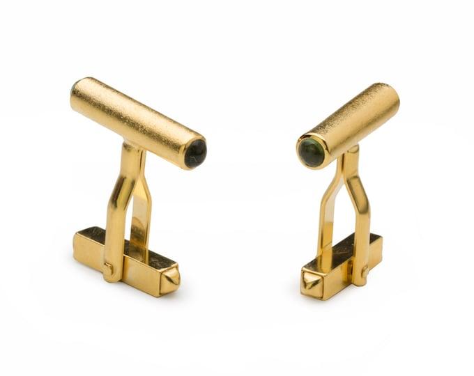 Cufflinks, 925/000 Silver, 18 kt gold plated, 4 Turmalincabouchons, Green.