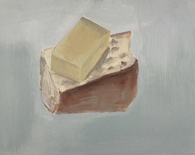 Art print on alu dibond, cheese bread.