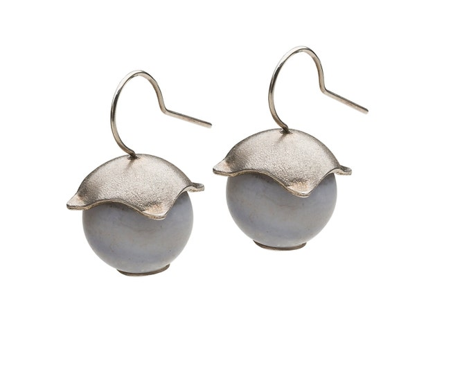 Earrings, 925/000 silver, chalcedony light blue, matted surfaces. Available in pairs.