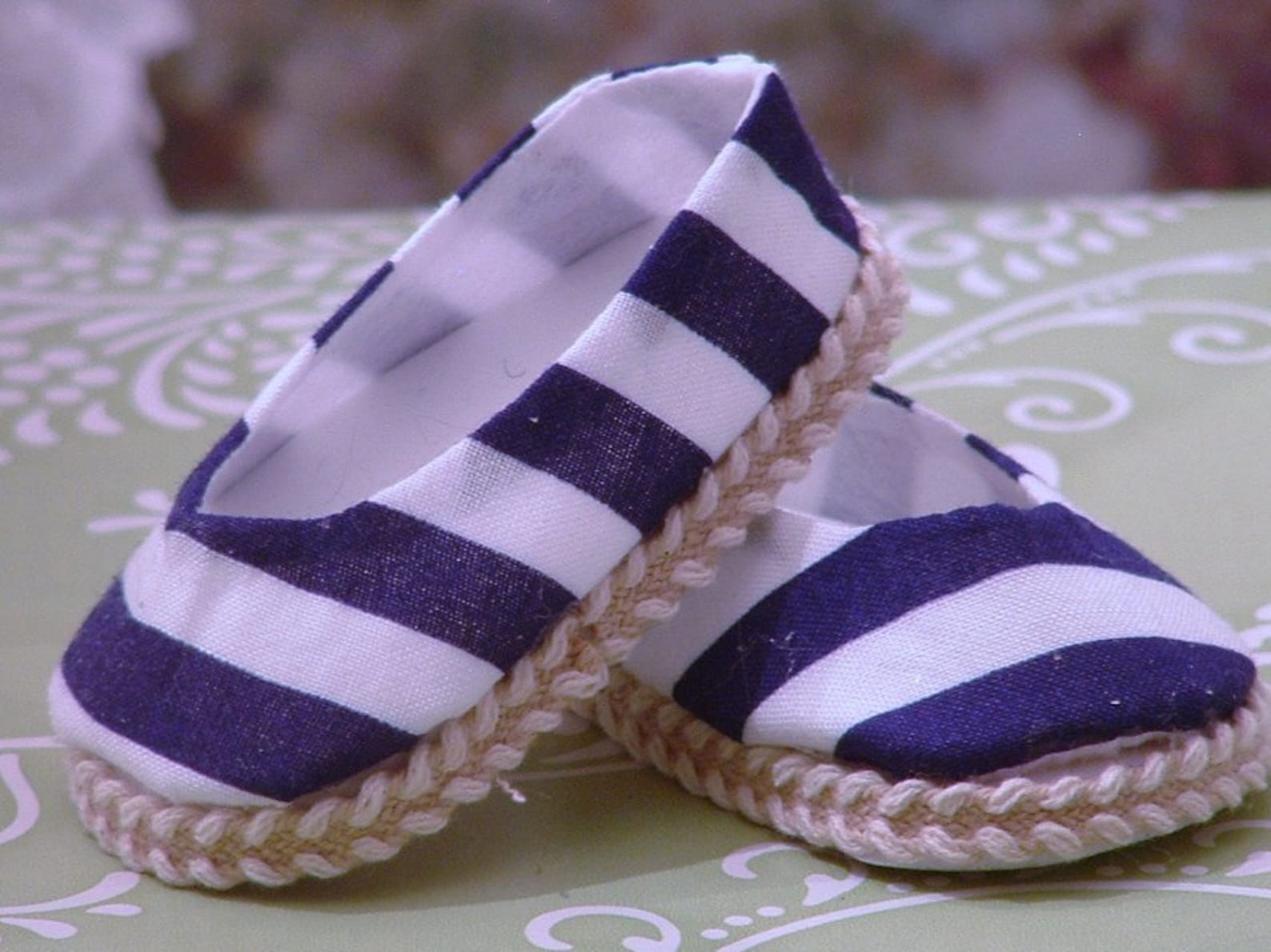 navy striped ballet flats for american girl dolls