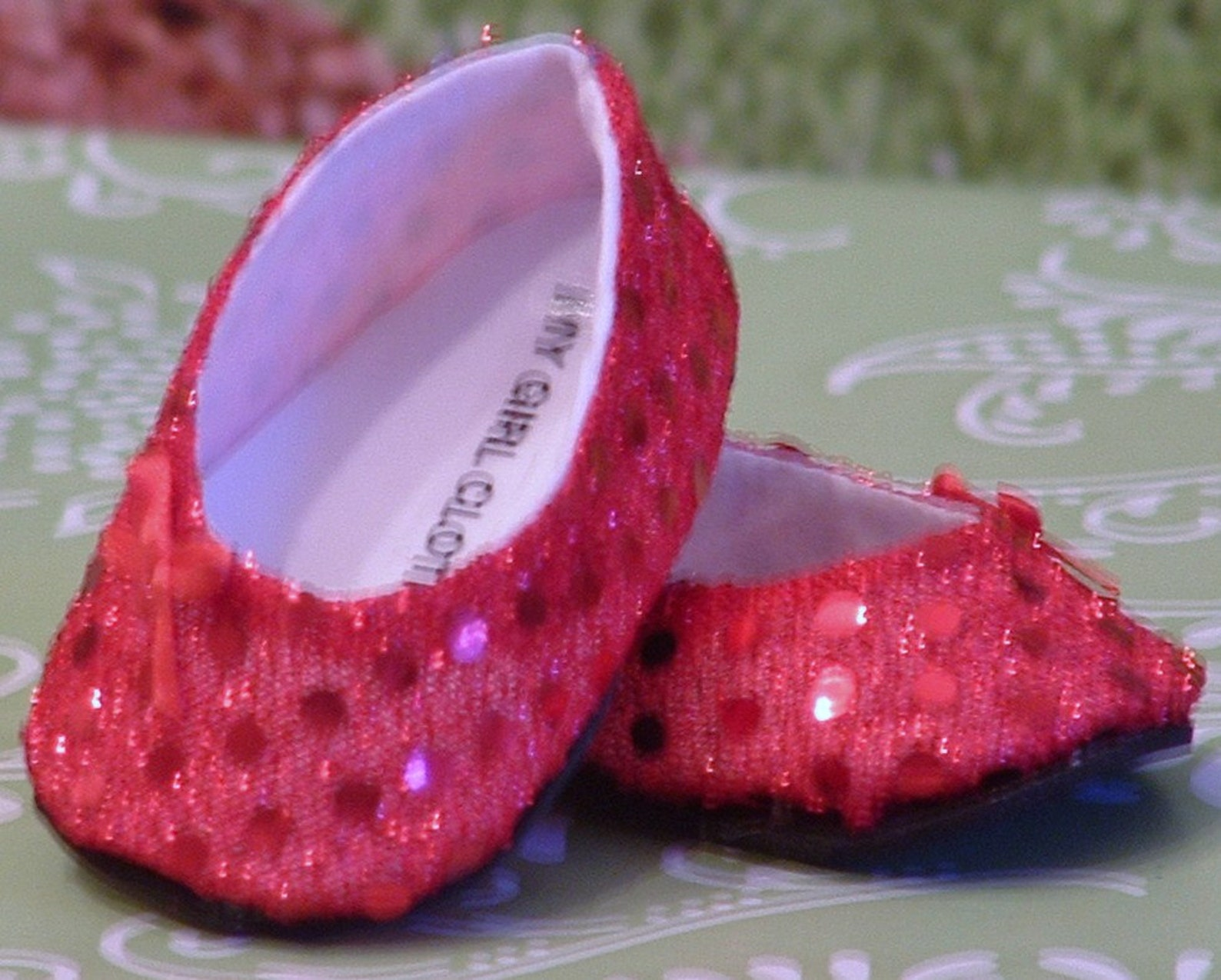 red sparkle ballet flats