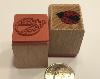 small / tiny Ladybug rubber stamp, 15 mm (BB4/12)