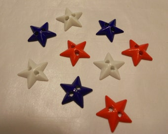 mix of 9 red, white and blue star buttons,16 mm (14)