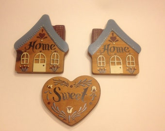 vintage wood wall decor, home sweet home, 5 inches (BR13)